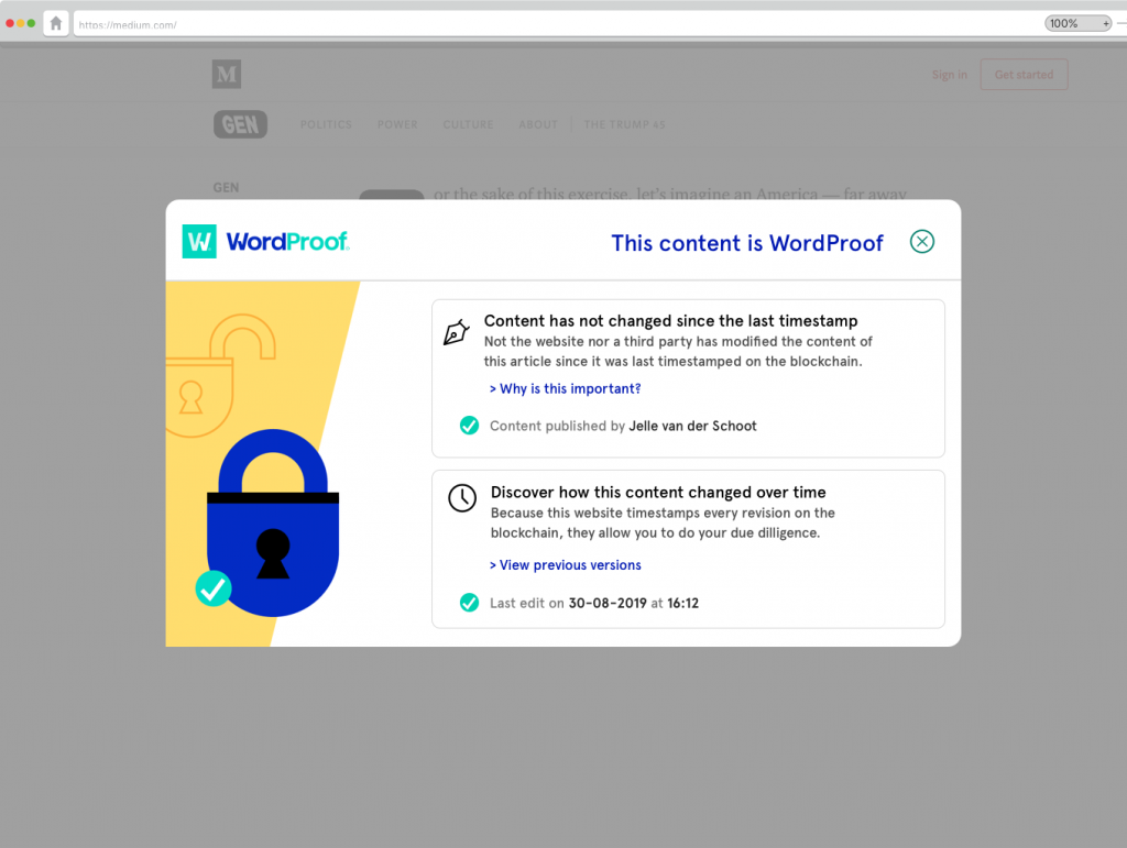 Blockchain content timestamp certificate